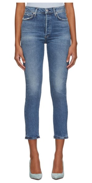 Citizens of Humanity blue olivia high-rise slim ankle jeans in moments