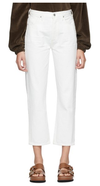 Citizens of Humanity off-white mckenzie curved straight jeans in white chalk