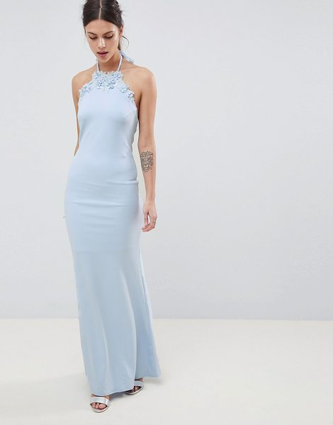 City Goddess halter neck maxi dress with flower detail in babyblue - Maxi dress by City Goddess, Take that dress code up a...