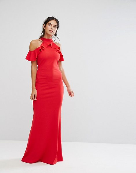 """City Goddess maxi dress with ruffle detail in red - """"""""Maxi dress by City Goddess, Stretch knitted fabric,..."""
