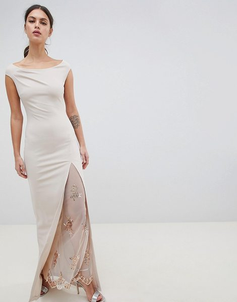 City Goddess off the shoulder maxi dress with lace split detail in palepink - Maxi dress by City Goddess, For that thing you have to...