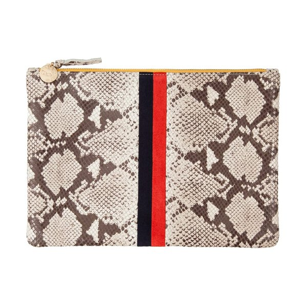 Clare V. center stripe snakeskin embossed leather clutch in women~~bags~~clutch - This chic zip-top pouch is a perennial favorite of...