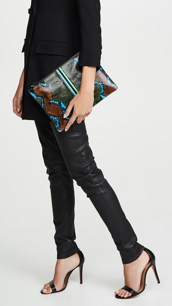 Clare V. flat clutch in pablo snake evergreen