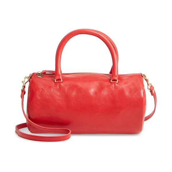 Clare V. grande pepe leather barrel bag in cherry red rustic