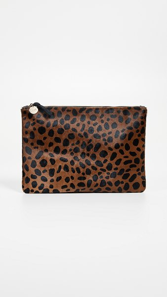 Clare V. leopard flat haircalf clutch in leopard