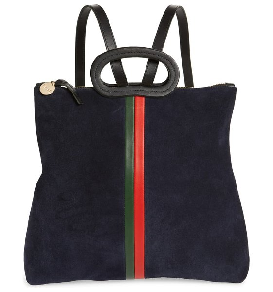 Clare V. marcelle leather tote backpack in navy/ evergreen stripes