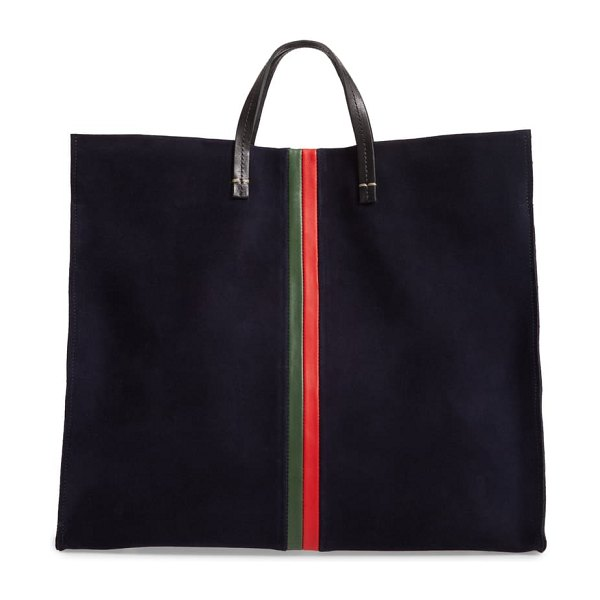 Clare V. simple leather tote in navy/ evergreen stripes