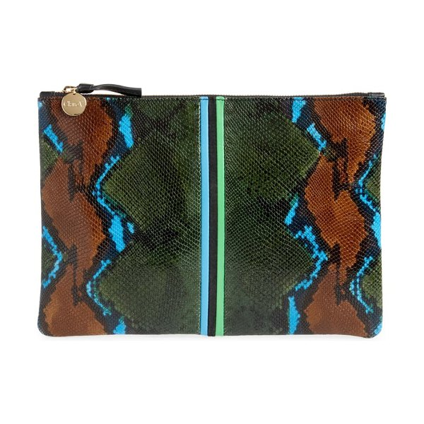 Clare V. snake embossed leather flat clutch in evergreen snake