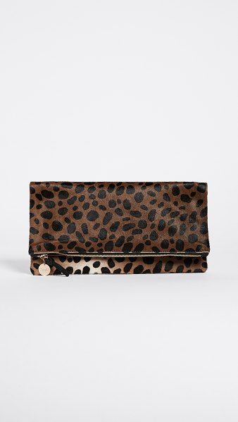 Clare V. supreme haircalf fold over clutch in leopard