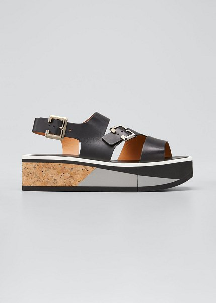 CLERGERIE PARIS Ulysset Cork Flatform Wedge Sandals in black