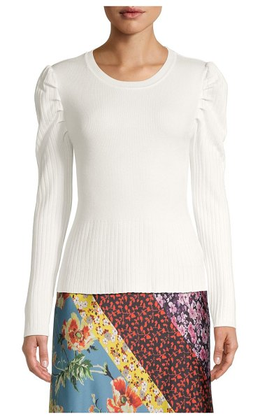 Clich Puff-Sleeve Ribbed Pullover in white
