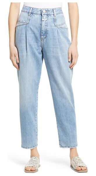 Closed pearl high waist pleated nonstretch straight leg jeans in mid blue