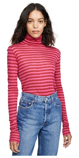 Closed turtleneck top in ruby