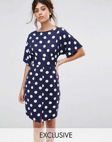 Closet London kimono sleeve midi dress with tie back detail and split front in navypolka