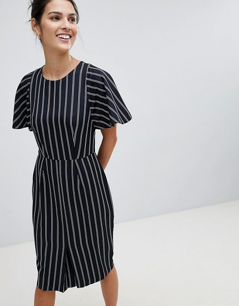 Closet London closet striped pencil dress in navy - Dress by Closet, Stripe design, Get in line, Crew neck,...