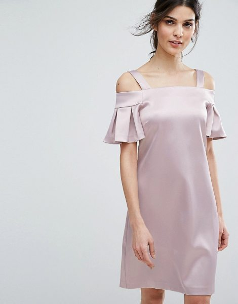 """Closet London cold shoulder mini dress in nude - """"""""Dress by Closet, Midweight sateen, Soft-touch finish,..."""