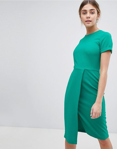 CLOSET LONDON Short Sleeve Wrap Over Detail Dress - Dress by Closet, Suitable for work and play, Crew neck,...