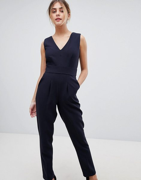 CLOSET LONDON Wrap Front Tailored Jumpsuit in navy - Jumpsuit by Closet, Done in one, V-neck, Pleated detail,...