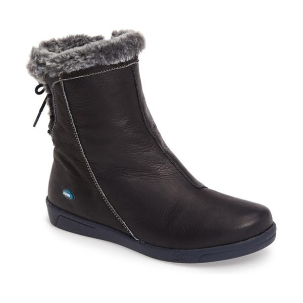 CLOUD aryana faux fur & wool lined boot in blue leather
