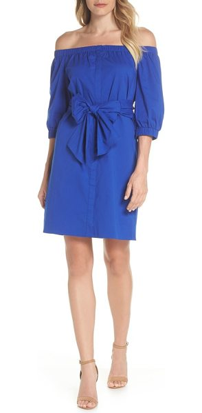 CLOVER AND SLOANE off the shoulder minidress in persian blue - Vibrant, fresh and ready for your next weekend party,...