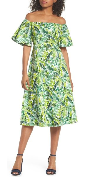 CLOVER AND SLOANE palm print off the shoulder dress in soft white/ green - Get ready for that vacation in the tropics with this...