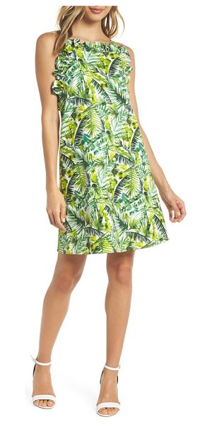 CLOVER AND SLOANE ruffle top shift dress - A leafy-palm print lends vacation-ready charm to this...