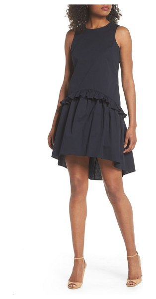 e20d0d4dcdd CLOVER AND SLOANE sleeveless ruffle high low dress in dark navy - Flirty  and feminine