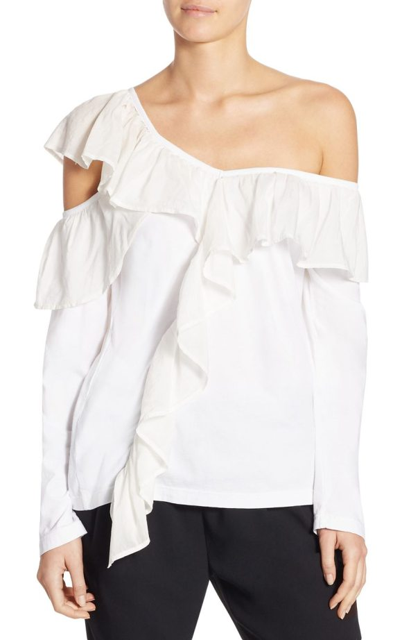 Clu ruffled asymmetric top in white - Delightful ruffle patterns with cutout style this soft...