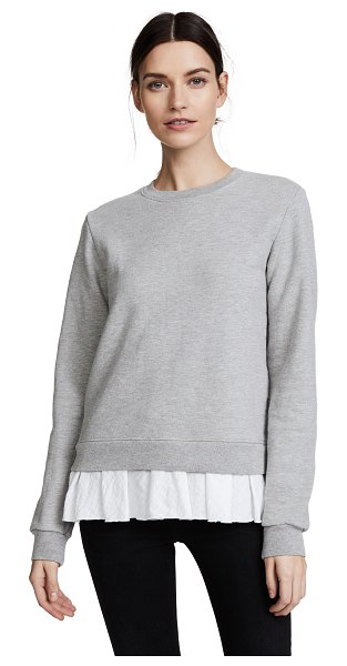 Clu too ruffled sweatshirt in heather grey/white