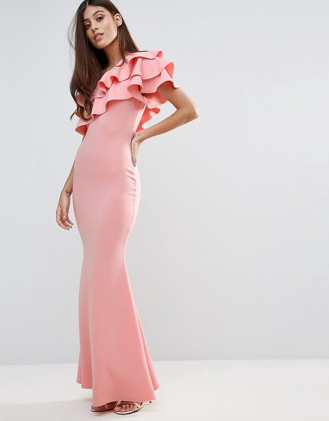 Club L Bridesmaid One Shoulder Ruffle Detail Maxi Dress In Pink