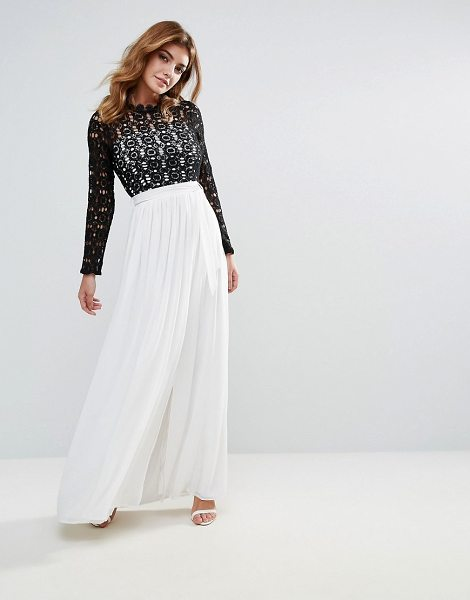 b728db23d59 Club L high neck maxi dress with contrast crochet lace in blackandwhite -