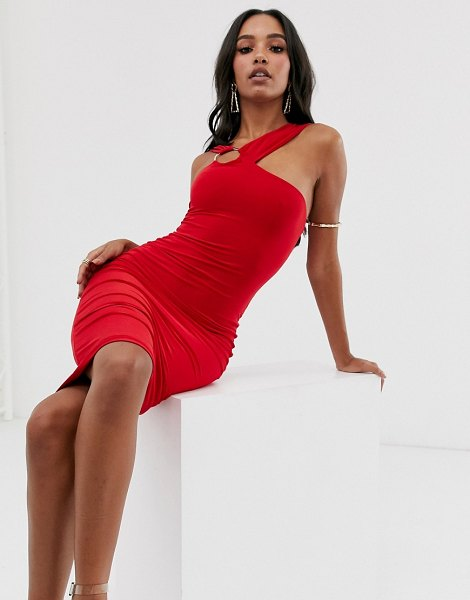 Club L London midi bodycon dress with hardware back detail in red in red