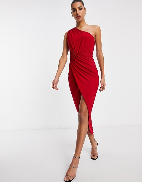 Club L London one shoulder rushed midi wrap dress in red in red