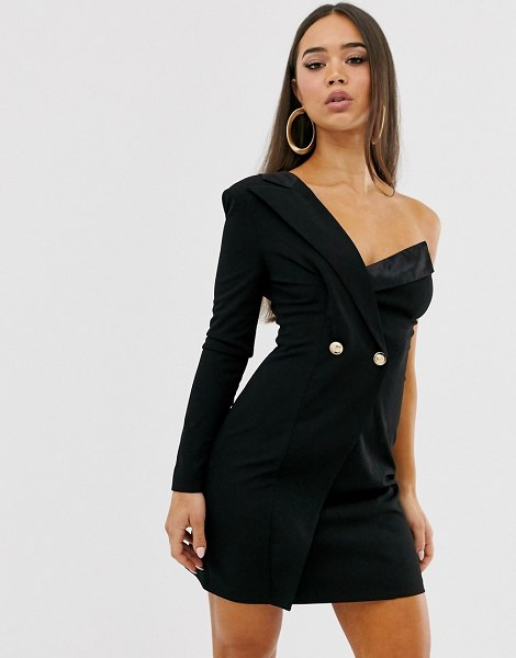 Club L London one shoulder tux dress-black in black