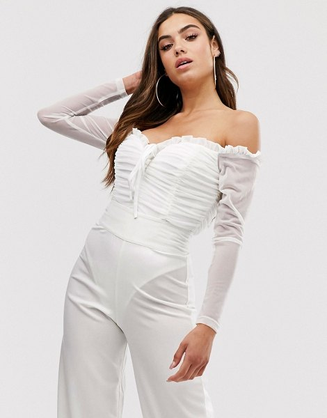 Club L London ruched off shoulder body in white in white