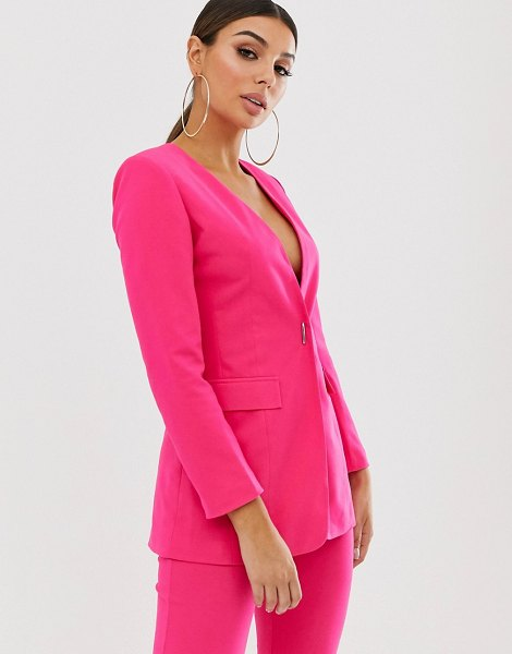 Club L London single breasted blazer with feature fastening in hotpink