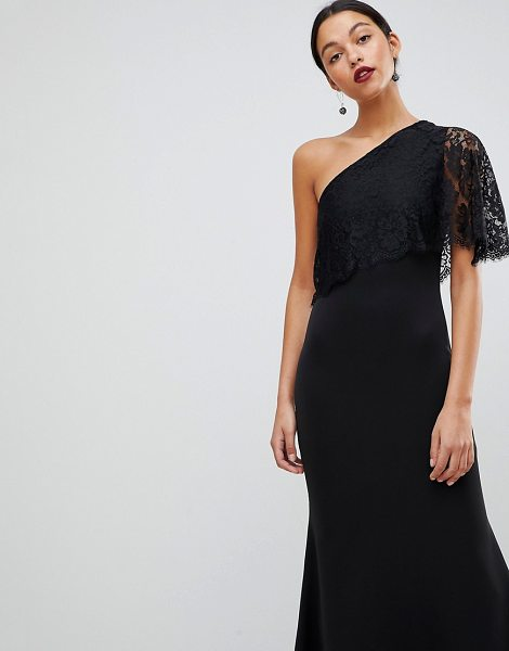 Club L One Shoulder Lace Cape Overlay Detailed Maxi Dress In Black