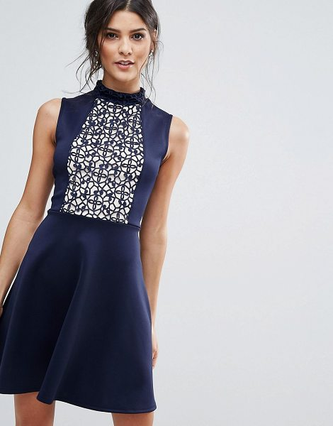 """Club L Skater Dress With Lace Panel in navy - """"""""Lace dress by Club L, Smooth knitted fabric, Front..."""