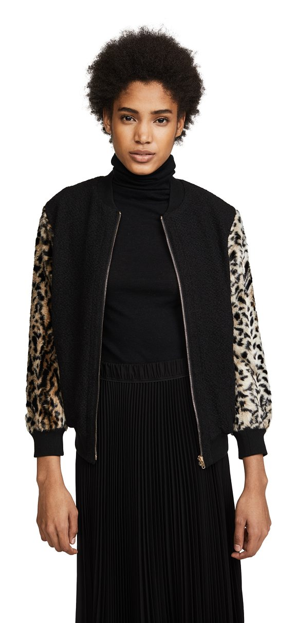 Club Monaco tay bomber jacket in black multi - Leopard-print faux-fur sleeves lend a playful touch to...
