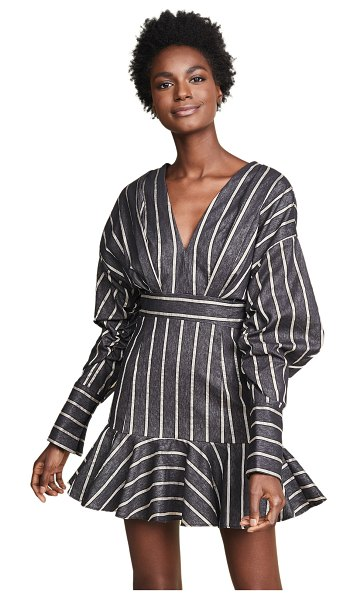 C/Meo Collective moments apart dress in navy stripe - Fabric: Chambray Slubbed, shimmery stripes Ruched...