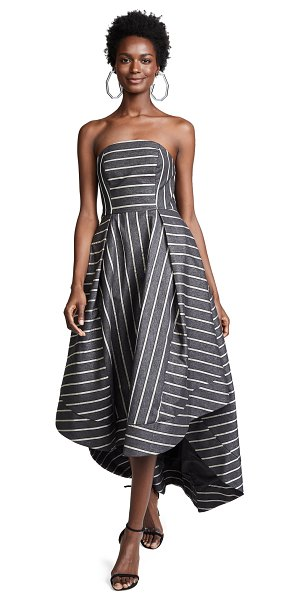 C/Meo Collective moments apart gown in navy stripe - Fabric: Denim Voile contrast stripes Boned bodice...