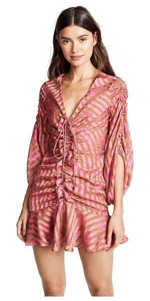 C/Meo Collective significant mini dress in copper rose - Fabric: Lightweight woven Blouson sleeves Ruched at...