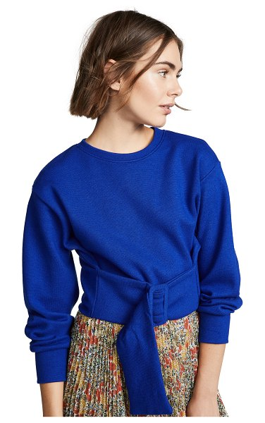 C/Meo Collective the moments sweater in cobalt - Fabric: Knit Functional belt Cropped profile Crew neck...