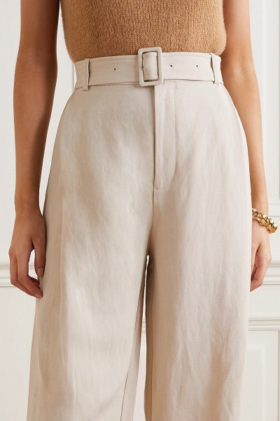 Co. belted woven wide-leg pants in taupe