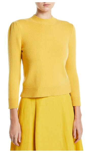 Co. Cashmere Puff-Shoulder Pullover Sweater in yellow