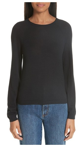 Co. essentials cashmere sweater in black - Rounded shoulders, fuller sleeves and a rolled neckline...