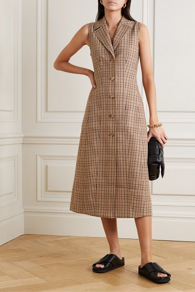 Co. checked woven midi dress in brown