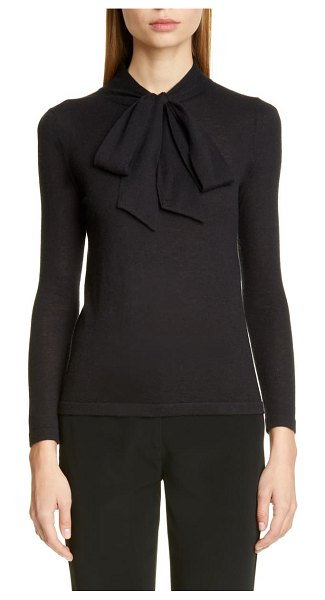 Co. essentials tie neck cashmere sweater in navy