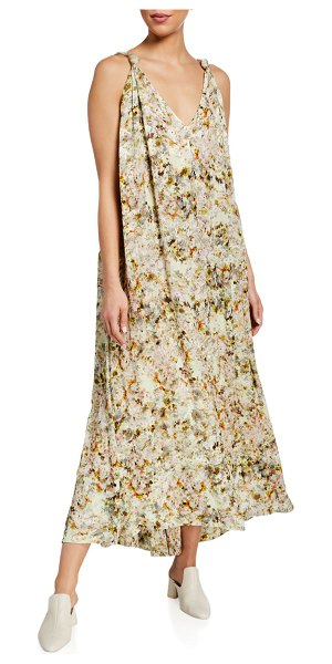 Co. Floral Crepe Draped Maxi Dress in multi pattern