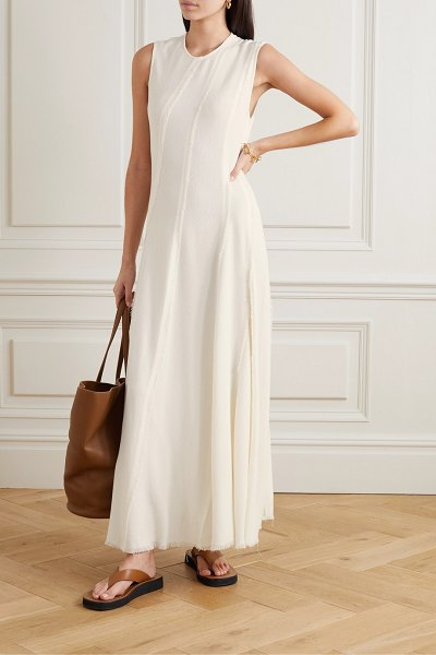 Co. frayed crepe maxi dress in ivory